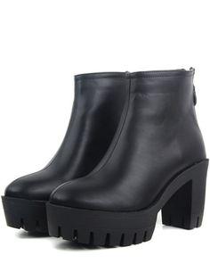 PU Boots mit Blockabsatz-schwarz