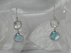 Aqua Blue / Clear Glass Drop Earrings, Silver Bridesmaid Earrings, Aquamarine Bridesmaid Gift, Light Blue Earrings, Sky Blue Ali3 by BridalTreasures4U on Etsy