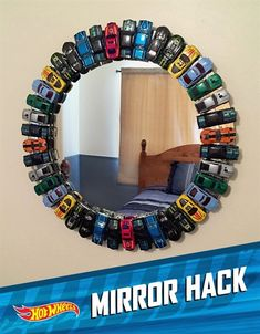 DIY Hot Wheels Mirror - So I& doing this for my .- DIY Hot Wheels Mirror – Ich mache das also für meine … – Baby Geschenke DIY Hot Wheels Mirror – So I& doing this for my … - Decoration Bedroom, Boys Bedroom Decor, Bedroom Ideas, Decor Room, Bedroom Designs, Projects For Kids, Diy For Kids, Diy Projects, Chambre Hotwheels