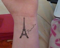 Eiffel Tower Tattoo I want this on the top of my foot. Minus the word Paris.:
