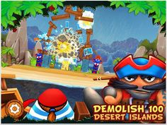 Ahoy matey! Yokka Pukkha Island is brimming with booty for the taking! Bring the villagers' towering structures down by strapping your crewmates to cannon balls and firing them into the foundations. Take aim and fire to batter their strongholds and claim your treasure across 100 levels of destructive puzzle mayhem.