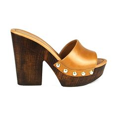 Mark and Maddux Antonio02 Peeptoe Womens Wooden Clog Sandals in cognac *** Check out this great product by click affiliate link Amazon.com