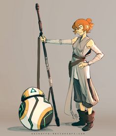 """solkorra: """"Crossover time xD *really, I'm the crossover girl :v* This time with Star Wars The force awakens :3 Katie Rey Holt and BB-Rover"""