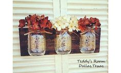 Mason Jar Decor Wall Hanging design made from West Texas Pine reclaimed wood piece. Horizontal adorable storage space. There's no such thing as too