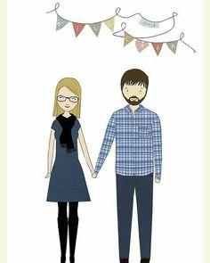 Because what could be a more special Valentine's Day gift than a custom couple illustration  portrait?  You can order and download yours from littleyellowdaises.etsy.com . . . #egst #etsygifts #valentinesgifts