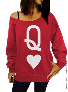 """Use coupon code """"pinterest"""" Queen of Hearts - Red Slouchy Oversized Sweatshirt by DentzDenim"""
