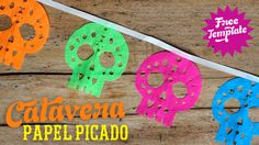 Make your own Day of The Dead sugar skulls crepe paper garland. Easy calavera papel picado templates and patterns for papel chino #halloween #skeleton #snowflake #crafts