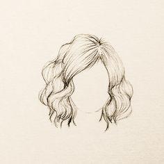 Ondulado, curto e volumoso. Illustration Art Drawing, Drawing Sketches, Art Drawings, Sketching, Body Drawing, Painting & Drawing, Hair Sketch, How To Draw Hair, Drawing Techniques
