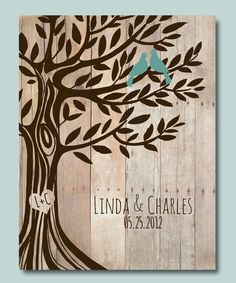 Personalized Wedding Gift Love Birds Tree, Engagement gift, anniversary Gift for Couples Poster 8'5 x 11""