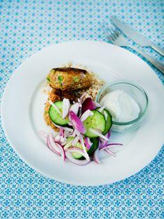 Indiske kyllinge-koftas med agurkesalat Sund og lækker hverdagsmad fra Familie Journals Slankeklub