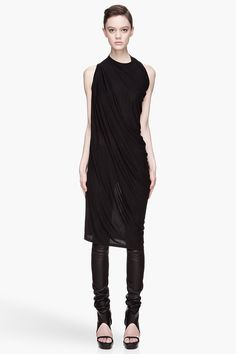 Rick Owens Black Twisted Seam Draping Tunic -  Rick Owens Black Twisted Seam Draping Tunic Rick Owens Sleeveless relaxed_fit dress in black. Crewneck collar. Cross_body twist effect at front. Tonal stitching. Price $520.00