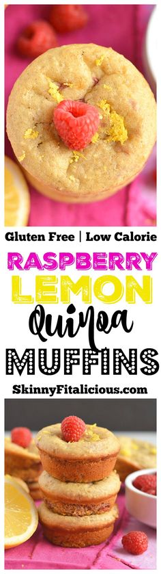 Moist & fluffy Raspberry Lemon Quinoa Muffins! These protein-packed muffins have summery flavors, are lightly sweet & packed with nourishment. Great for breakfast, brunch, or anytime! Gluten Free + Low Calorie {Vegan option available too!}