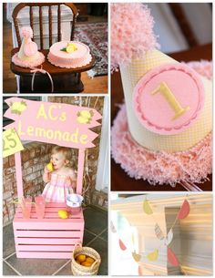 pink lemonade 1st birthday party! Tim's going to make the stand and I'm going to work on a hat/crown and cake!!