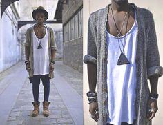 Urban Outfitters Harem Pant, Zara Long Cardigan, Topman Mini Wallet