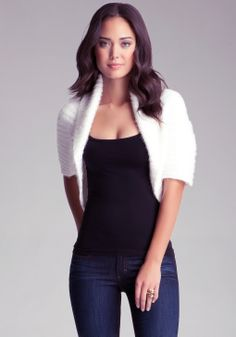 Bebe Honeycomb Stitch Cardigan in White | Lyst