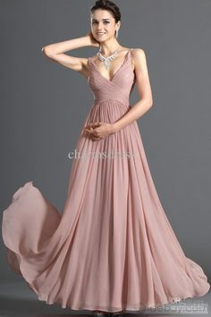 Wholesale Prom Dress - Buy Free Shipping New Arrival Dusty Pink Chiffon Dress V-NECK Floor Length A-line Evening Prom Dresses Cheap Price, $59.99   DHgate