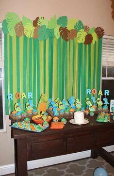 John s Birthday Baby Dino Party Jungle Theme Birthday, Jungle Party, Dinosaur Birthday Party, Safari Party, Baby Party, 1st Birthday Parties, Baby Birthday, Birthday Ideas, Birthday Table