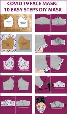 Easy Face Masks, Homemade Face Masks, Diy Face Mask, Sewing Hacks, Sewing Tutorials, Sewing Crafts, Video Tutorials, Small Sewing Projects, Diy Projects