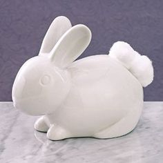 Bits and Pieces - Ceramic Bathroom Bunny Cotton Ball Holder - Cotton Tail White Rabbit Ceramic Cotton Ball Dispenser - Bathroom Novelty and Décor Hair Tool Organizer, Bathroom Gadgets, Easter Crafts For Kids, Travel Size Products, Decoration, Bathroom Accessories, Make It Yourself, Amazon, Bathroom Organization