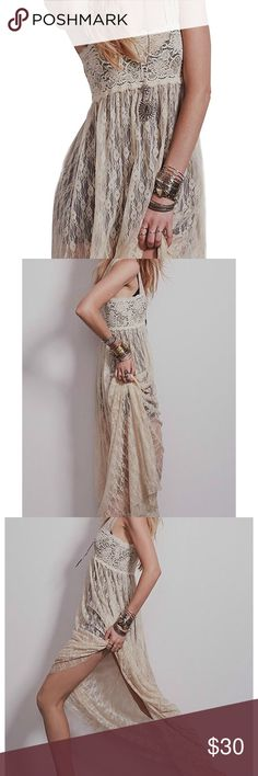 Boho Lace Beige Maxi Dress size S Bohemian Long Beige Lace  Maxi Dress ! Perfect for swim suit cover up or with shorts and a bralette! Super cute never been worn. Dresses Maxi