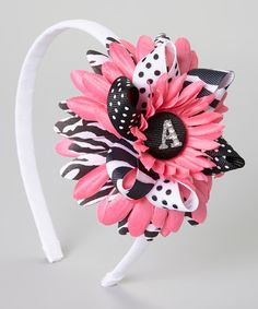 Take a look at this Pink & Black Polka Dot Flower Initial Headband by Fairy Bow Mother on #zulily today!