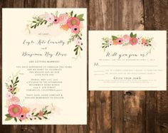 Bold Bohemian Floral Wedding Invitation Set от papernpeonies
