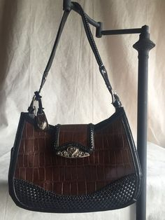 Brown And Black Purse With Silver Accents by M. C. #MC #Satchel
