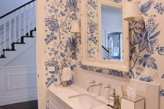 Blue and white Thibaut wallpaper in my powder room. Melbourne, Blue And White Wallpaper, Powder Rooms, White Houses, Fabric Wallpaper, Guest Bath, Colorful Decor, Sweet Home, Walls
