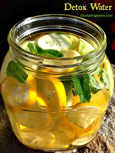 Detox Water: gallon of water (spring, distilled or filtered) 1 whole organic lemon, sliced and seeds removed ½ cucumber sliced 10 mint leaves, organic if possible Wash and dry the lemon. Slice and remove seeds Fill pitcher w/ 1 gallon of wat Detox Drinks, Healthy Drinks, Healthy Tips, Healthy Choices, Healthy Weight, Healthy Detox, Easy Detox, Simple Detox, Fruit Detox