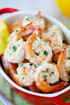Lemon Garlic Shrimp - easiest and best shrimp recipe with lemon, garlic, butter, and shrimp, all ready in 20 mins. Perfect as is or with pasta | http://rasamalaysia.com