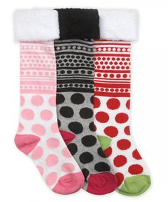 Jefferies Socks Dot Fuzzy Cuff Knee High