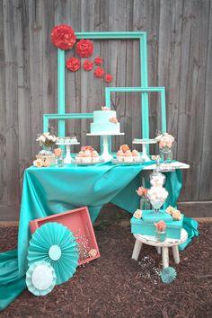 Candy Bar Sweettable para una primera comunion en Coral & Mint | Sooti
