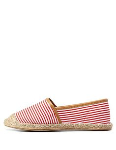 Striped Canvas Espadrille Flats: Charlotte Russe #flats