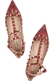 Valentino's studs and printed watersnake leather flats...I need these in my life!