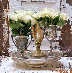 .Pedestal Silver Plate Tray