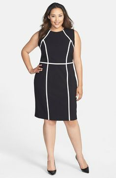 Calvin Klein Contrast Detail Sheath Dress (Plus Size) | Nordstrom