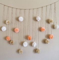 Pom Pom Garland, Peach and Creams Tissue Paper Flowers Wedding Garland DIY Kit, Party Decoration Kit, Baby Bunting Banner, Bridal shower by giddy4paisley on Etsy https://www.etsy.com/listing/266951622/pom-pom-garland-peach-and-creams-tissue