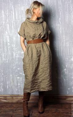 Купить Льняное платье - однотонный, лен 100%, льняное платье, Свободный стиль, купить платье