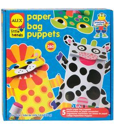 ALEX TOYS- Little Hands: Paper Bag Puppets. Whats more fun than playing with puppets? How about making them?  Any preschooler will love creating their very own puppet.  They simply peel, stick and glu