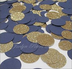 Navy blue and gold glitter party confetti is perfect to decorate your tables at weddings, bridal showers, baby showers or birthday celebrations. Your dessert or reception tables will sparkle upon the