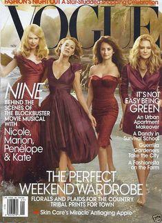 "Nicole Kidman, Kate Hudson, Fergie, Penelope Cruz, Marion Cotillard photographed by Annie Leibovitz for ""Nine"" Vogue November 2009 cover. Vogue Magazine Covers, Fashion Magazine Cover, Fashion Cover, Vogue Covers, Annie Leibovitz, Vogue Uk, Vogue Paris, Marion Cotillard, Penelope Cruz"