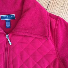 RED fleece quilted jacket. ❤️ Cute and warm jacket with front quilting, toggle drawstring cinch, side pockets.  Very versatile. Karen Scott Jackets & Coats