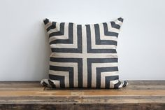 Doha metallic gunmetal & natural hand printed organic hemp pillow cover 20x20
