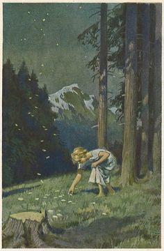"""""""Sterntaler"""" - Illustration zu Grimms Märchen von Professor Paul Hey, Maler, Grafiker und Illustrator (19.10.1867 in München - 14.10.1952 Gauting)"""
