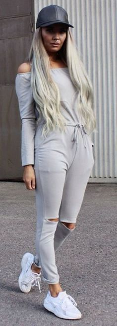 #summer #stunning #outfitideas | Light Grey Off The Shoulder Sporty Jumpsuit