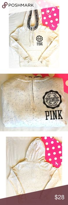 💓RARE PINK HALF ZIP🔥 Rare PINK half zip- high neck sweatshirt. Multicolored confetti specks on cream coat. Decal on hood. PINK Victoria's Secret Tops Sweatshirts & Hoodies