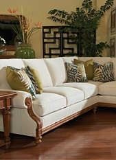 Relax atop the West Shore Sectional and slip into a Caribbean frame of mind with it's stunning wooden frame and soft, plush cushions.