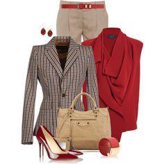 Check blazer, created by mommygerloff on Polyvore