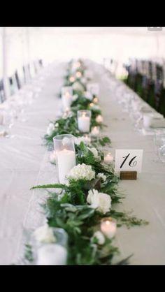 Taller candles green foliage table runner flower Garland