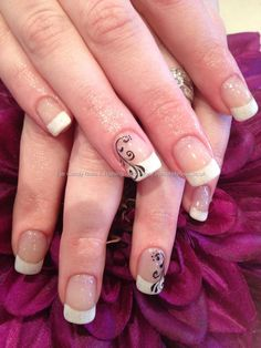 White french gel polish on acrylic overlays with black swirl freehand nail art